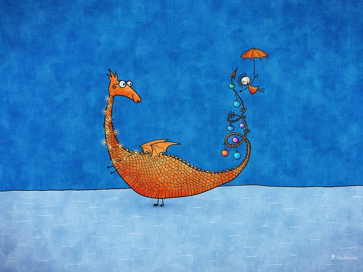 Deck the dragon with boughs of holly Fa-la-la-la-la, la-la-la-la.... Alice, Her Dragon and The Christmas Tree by vladstudio.deviantart.com