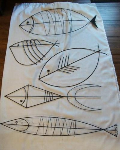 MID CENTURY MODERN BLACK WIRE WALL ART FISH-#5 - sold but wonder how I could use the designs....?: