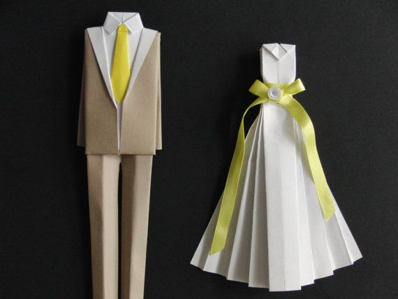 Wedding Or Paper Anniversary Gift Unframed Personalized Art Bride And Groom Origami Outfit Original Made To Order Etsy Treasure Finds