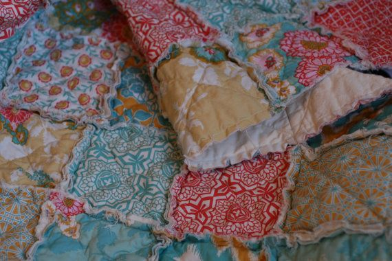 Crib Rag Quilt, Botanique in Sunset, Joel Dewberry, ALL NATURAL, handmade bedding, Coral, teal, apricot and aqua, little girl, nursery decor by littlesunshinequilts. Explore more products on http://littlesunshinequilts.etsy.com