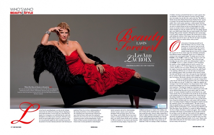 This is a two page spread, shot in my Centretown Ottawa studio for a National Canadian Magazine. Leanne Lacroix is a designer, entreprenuer, TV personality,decorator and a whole lot more....plus, she is a lot of fun.