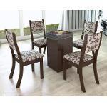Conjunto De Mesa Para Sala De Jantar Dubai Com 4 Cadeiras Nogueira/Brownie