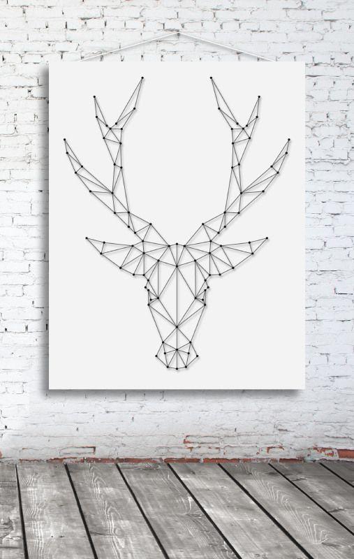 Rendier Groot | Spijkerafbeeldingen, muurafbeeldingen, string-art, spijkerpatronen | spijkerpatroon (string art)
