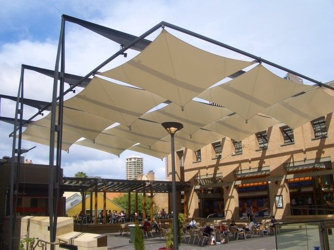 contemporary pergola with tensile panels | arch. LANDSCAPE ...