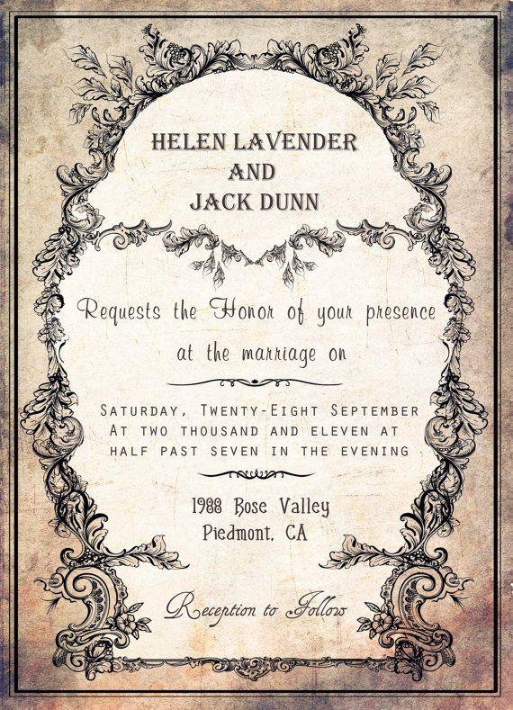 old printable vintage wedding invitation in by digitalpaperstudio