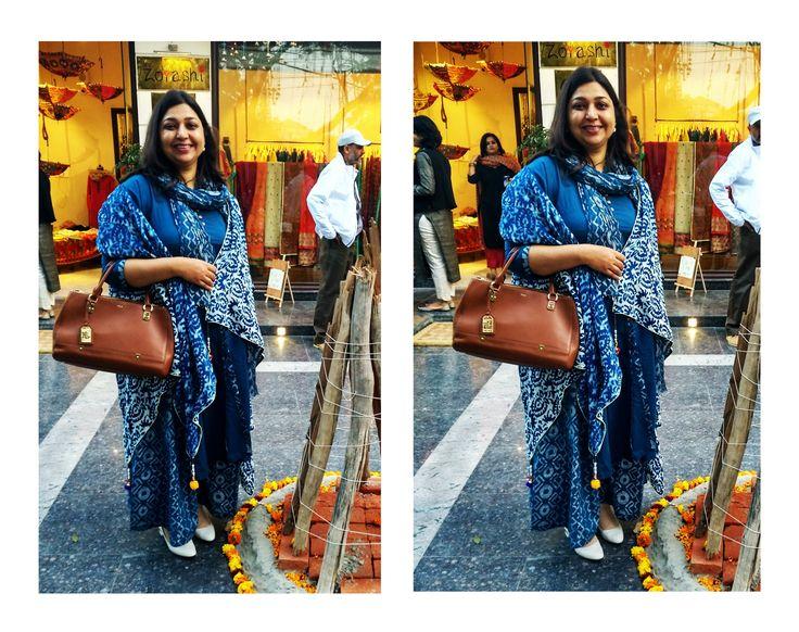 #HappyCustomer One of our favourite customers- Ritu, layering her look with Zoyashi's Indigo Shrug at the Lohri Bazaar!#HappyCustomer #Zoyashi #OOTD #IndigoShrugs #Shrugs #LayerItUp #LohriCelebration #RockThisLookWithZoyashi #Festive