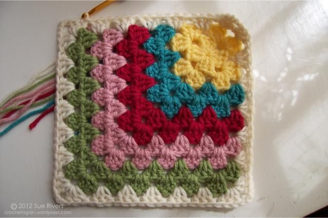 Mitered granny squares - would be fun to do in different shades, a square of shades of purple or green, etc.