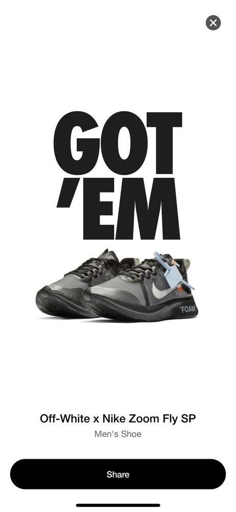 58686e29d9a14 Off-White x Nike Zoom Fly SP Size 12 Black AJ4588-001 #fashion ...