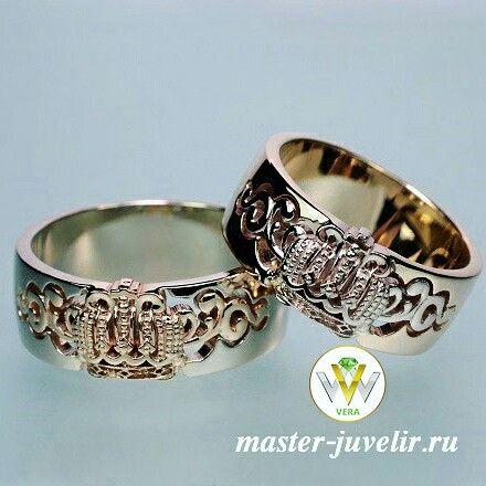 Обручальные кольца с короной.  Артикул Обр1052, комбинированное золото 585 пробы, ширина 8 мм, вес 18 гр/пара.
