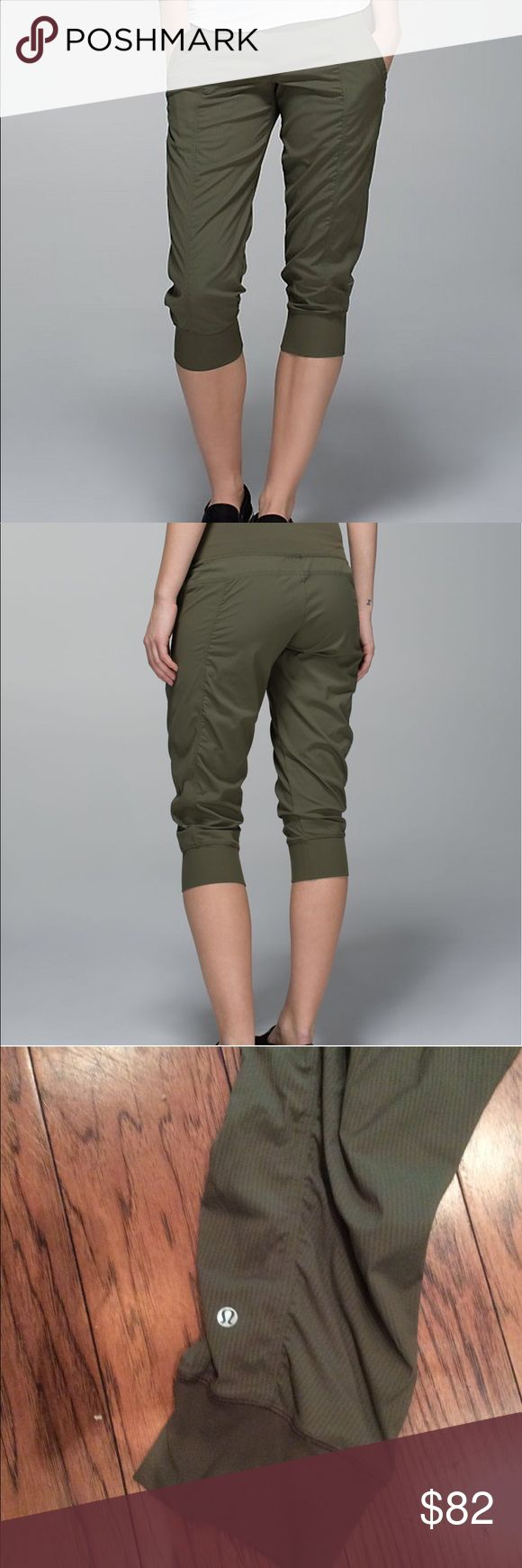 Lululemon In Flux Crop - Fatigue Green EUC (flawless) In Flux Crop in gorgeous Fatigue Green! ✨Incredible crop by Lululemon with waistband that can be worn high or low. Everything you could ask for in a Lulu Crop from comfort and style, plus versatility of wear!! More photos to come, size 4. Reasonable offers welcome. 😊 lululemon athletica Pants