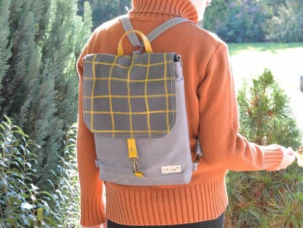 Handmade Canvas Backpack - Light Grey Plaid Design