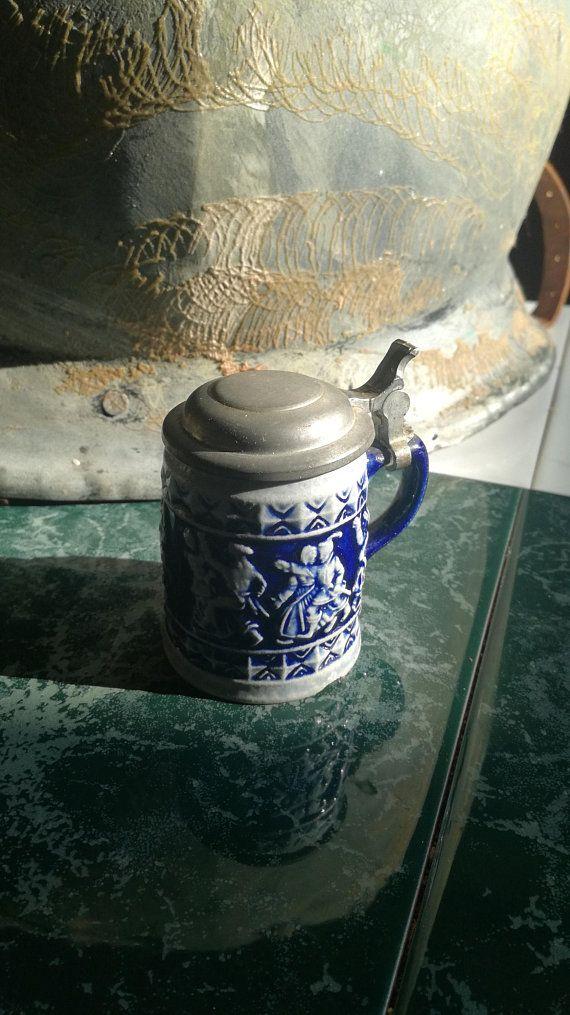 Vintage, Miniatur, Miniature, Bierkrug, Beer Mug, Steinkrug, Stone Pitcher, Bierseidel, Zinndeckel, Tin Lid, 7 cm, Collector, Sammler Miniatur - 7 cm 8,00€ Janetsvintagecorner