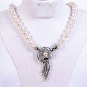925 ayar gümüş süslemeli, muhteşem inci bayan kolyesi