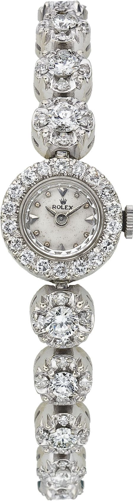 ♥••*´¨`*•.☆• вeaυтιғυl♥••*´¨`*•.☆• Rolex Lady's Diamond, White Gold Integral Bracelet Wristwatch, circa 1950.