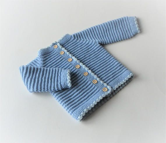 Baby blue sweater knitted jacket for baby handmade baby by Tuttolv