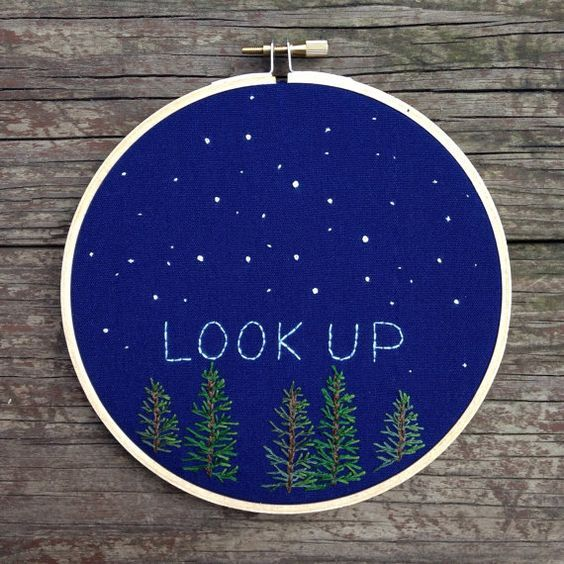 "Starry night embroidery scene, ""look up"" #embroidery #hoopart #stars:"