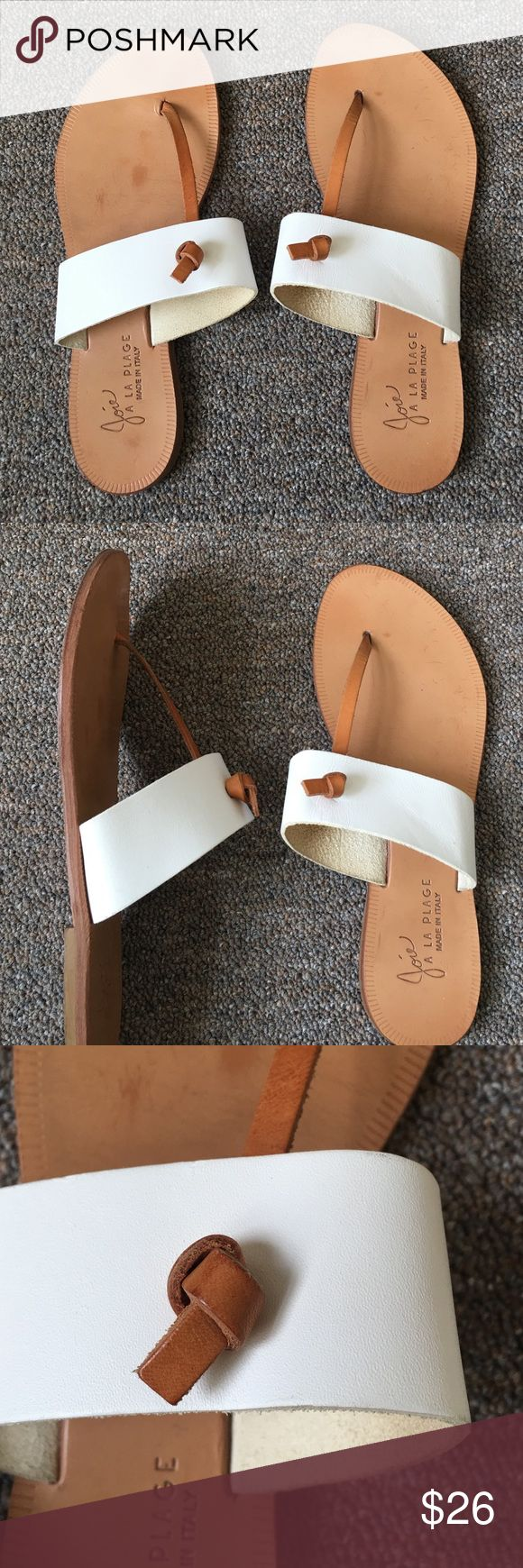 Joie leather sandals Comfortable T-strap sandals, a bit worn but you won't see the markings on the soles when you are wearing them! Joie Shoes Sandals