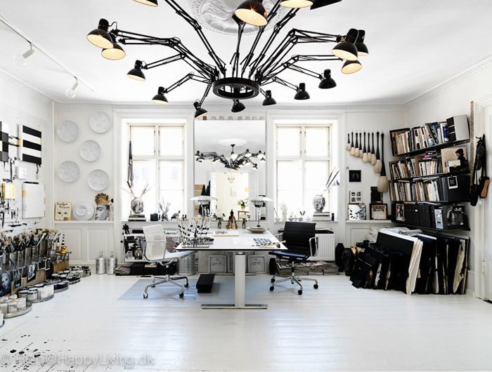 the most amazing office!! the light fixture has to be my favorite part, it slightly reminds me of a spider though.