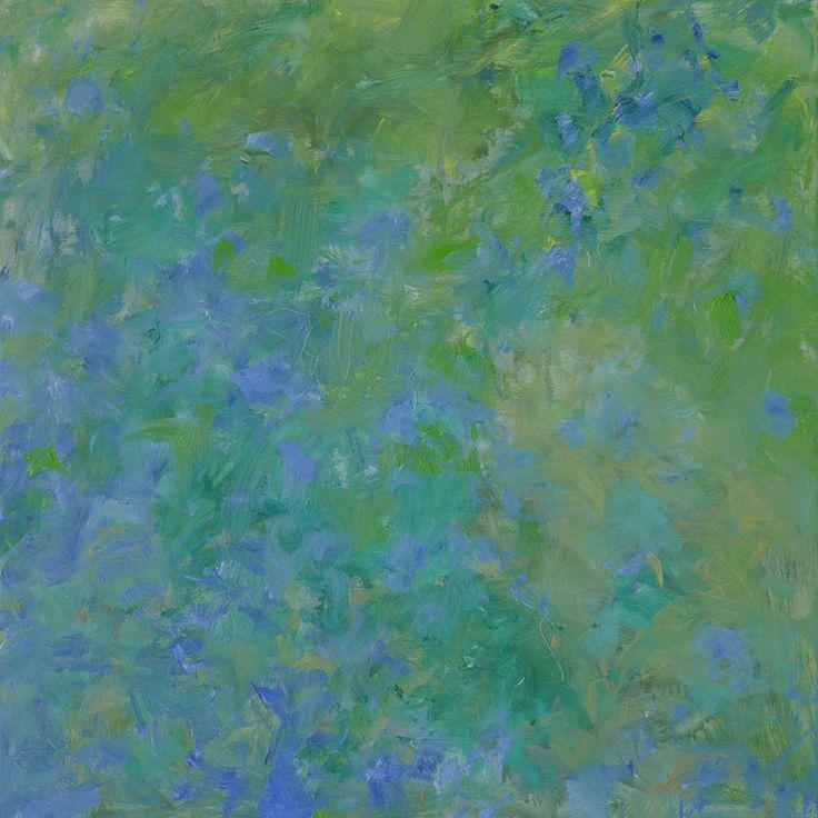 Heinrich Ilmari Rautio:  Comfeys in the shade of cherry trees -Raunioyrtit kirsikkapuiden varjossa, 80x80 cm, oil on canvas, 2017.