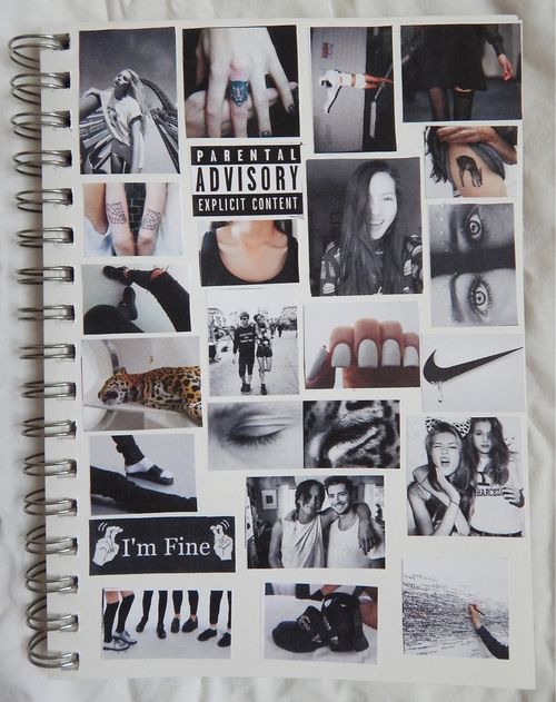 Ive been seeing so many notebook collages lately. A notebook is a place for reflection, therefore I think having an inspiring cover is such a good idea and it looks so good too!