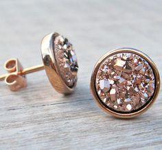 Bridesmaid Earings rose gold druzy stud earrings
