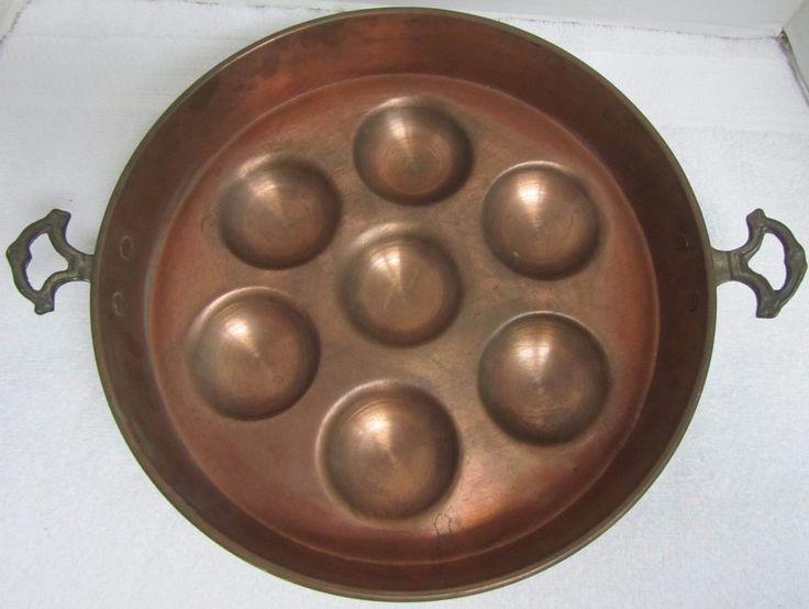 """Copper Escargot Oyster Egg Poacher Pan Mold Brass Handles 12-1/4"""" FREE SHIPPING"""