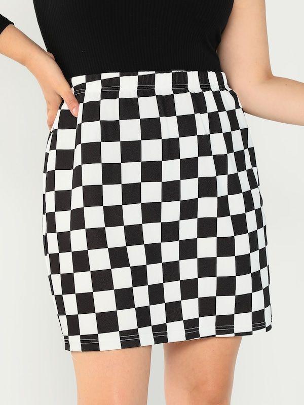 7d3a426c0e3 Plus Elastic Waist Checked Skirt -SheIn(Sheinside)