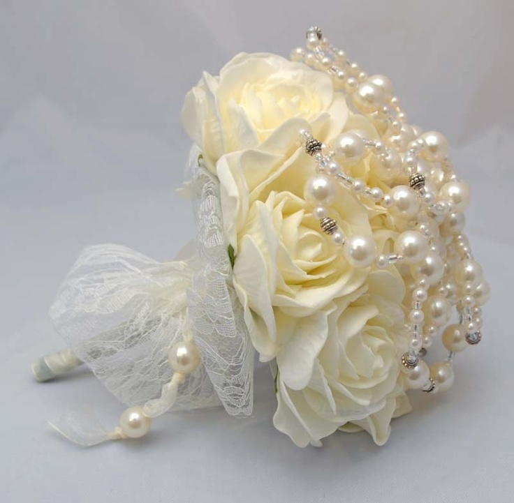 Bride - Collections - Designer Pearl Collection - Hand Made Pearl Wedding Bouquet with Ivory Roses - Artificial Wedding Flowers | Sarah's Flowers