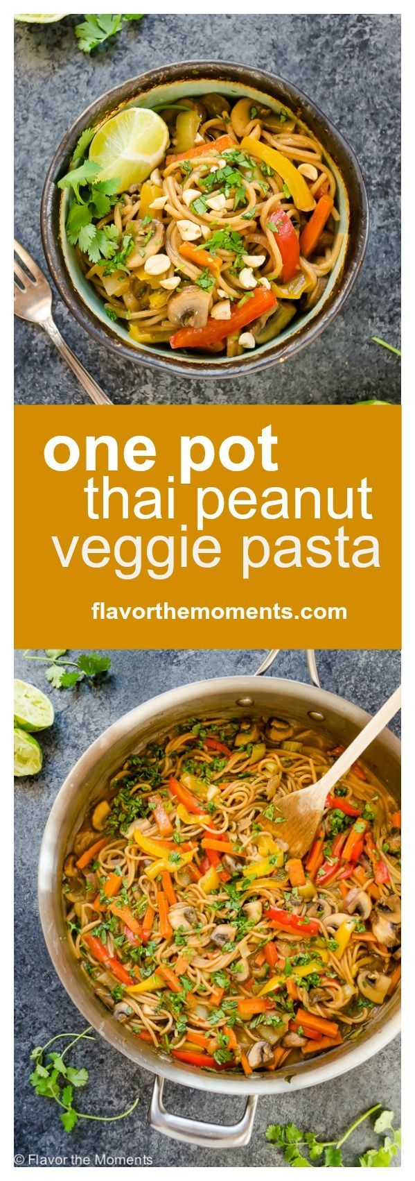 One Pot Thai Peanut Veggie Pasta is whole wheat spaghetti and plenty of veggies in a flavorful Thai peanut sauce. It's a delicious meatless meal…