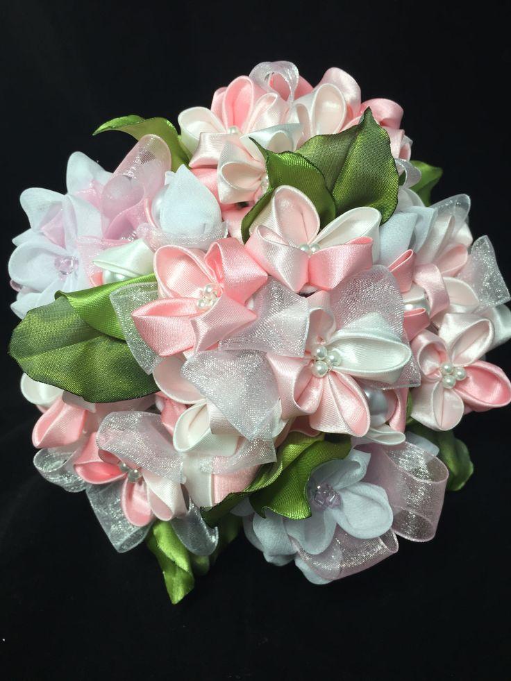 Wedding Bouquet.  Wedding Day Flowers.  Hydrangea bouquet using Kanzashi flower folding techniques.  www.forgetmenotblooms.com