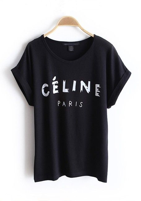 Black Letter Collarless Batwing Short Sleeve Cotton T-Shirt