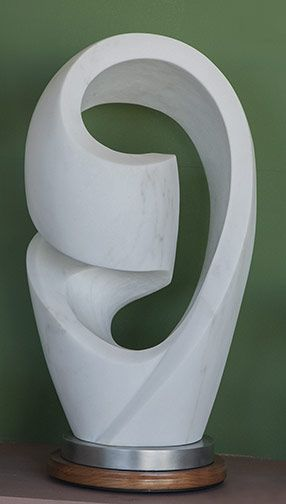 """Mobius Variation No. 6"", Colorado Marble, Aluminum, 22""x12""x9"". For Sale: $3,600. This is a continuation in a series of variations on the Mobius strip that has been turned in upon itself. The sculpture is on an aluminum base."