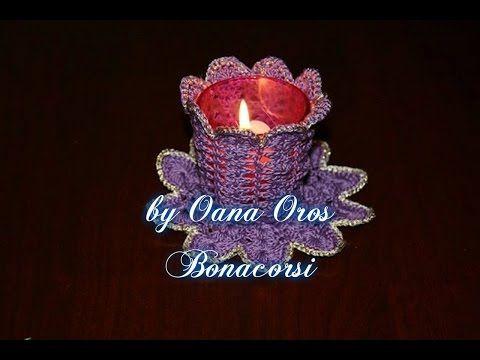 sottobicchiere e porta candella rivestito all'uncinetto seconda parte - YouTube