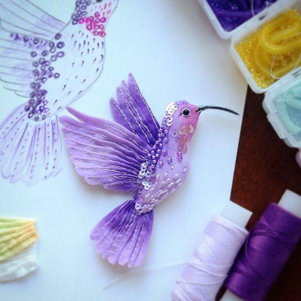 Miniature hand painted natural silk and cotton beaded 'PURPLE BIRD' textile Hummingbird brooch ....................................................................................... by Julia Gorina