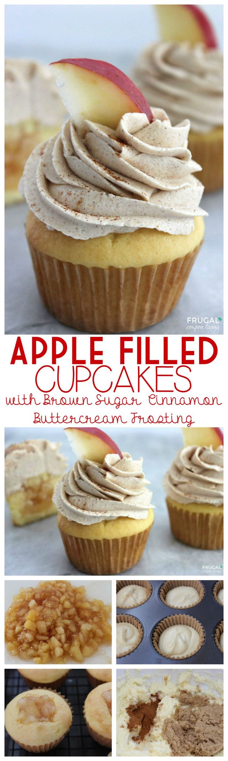 Apple Filled Cupcakes with Brown Sugar, Cinnamon Buttercream Homemade Frosting. Great Fall Cupcake Recipe Idea.