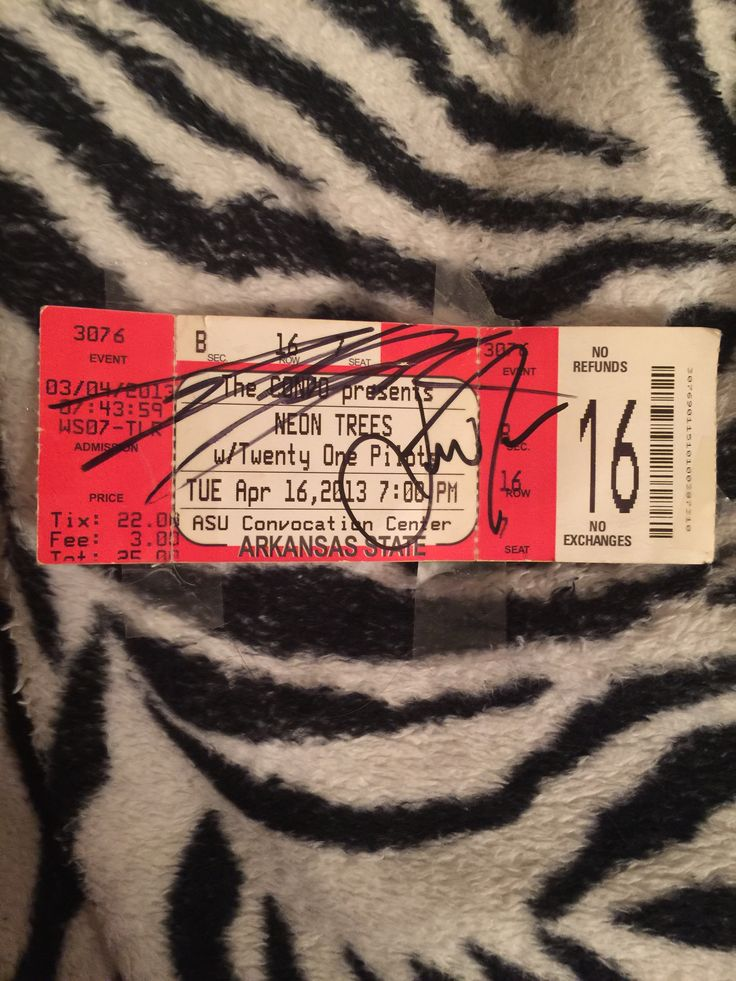 My signed ticket from a twenty one pilots concert from a while back. @livylane