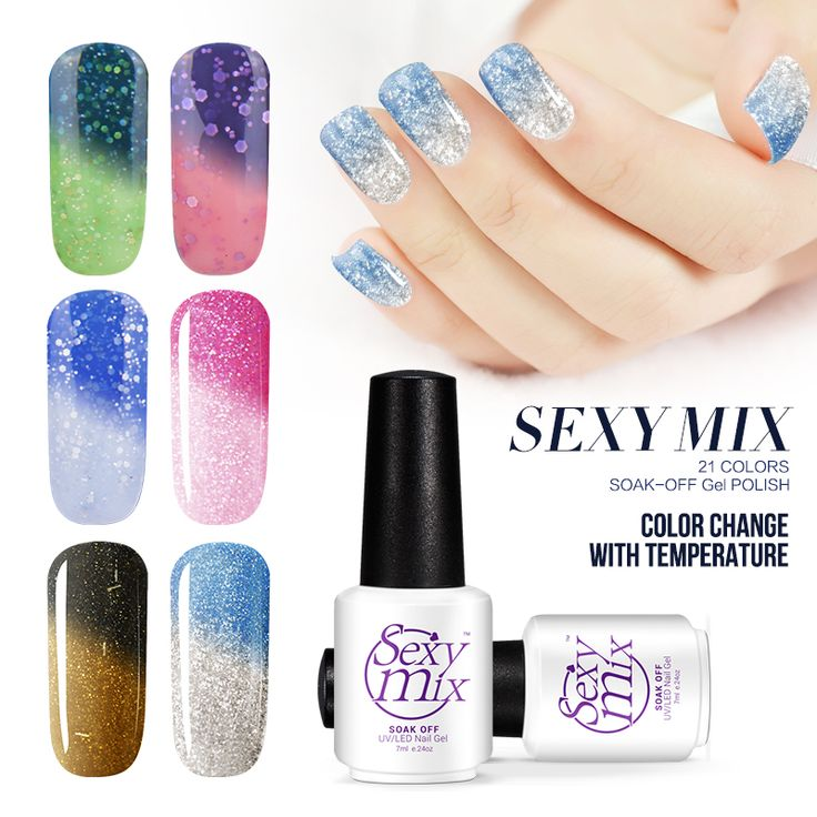 Sexy mix UV Nail Gel Tempreature Color Changing Gel Nail Polish Nail Art Varnish Soak off UV/LED Chameleon Gel polish Lacquer * Detailed information can be found by clicking on the image