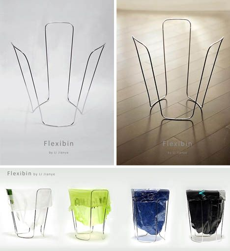 Flexibin: One piece of metal wraps and twists to form what may be the lightest and thinnest garbage can in the world – not even a can so much as a means of holding up a plastic trash bag.