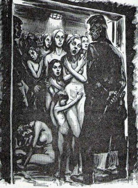 """David Olère (1902 – 1985, Polish-born French) ~ """"In the gas chamber"""" ~ As a Jew, David Olère was deported to Auschwitz, where he was forced to work in the gas chambers and crematorium. His work, based on personal experience, has exceptional documentary value. Needless to say that, in their tragic cruelty, his drawings and paintings are highly explicit."""