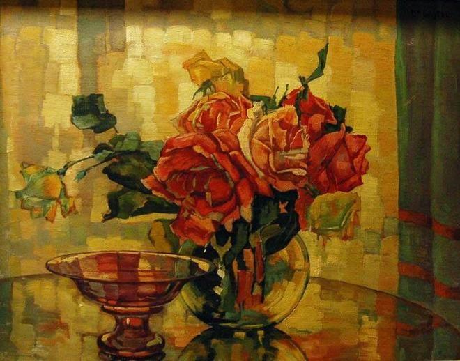Leo Gestel, Stilleven met rozen.