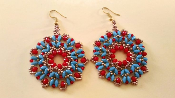 Earrings superduo Miyuki beads and rondelle