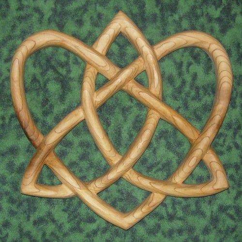 Trinity Love Knot-Heart Shaped Wood Carving-Irish Love Knot Variation