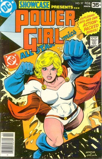An all-star is born! Created as the Earth-2 version of Supergirl, Kara from Krypton-2 left as baby Kal-El did, but her rocket was slower. On the plus side, it helped her mature. Clark and Lois Kent secretly adopt her to teach her Earthly ways. After becoming a Justice Society hero, she adopts a human identity as Karen Starr, computer programmer. Story by Paul Levitz and Joe Staton (who created the Batgirl of Earth-2, the Huntress).
