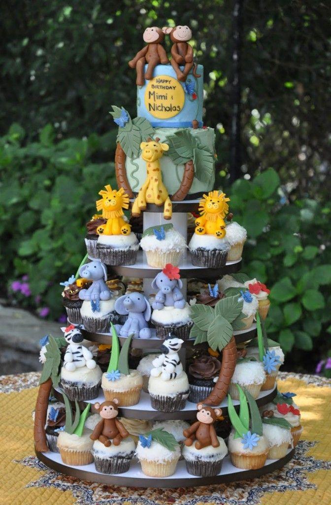 Safari cake/cupcake tower
