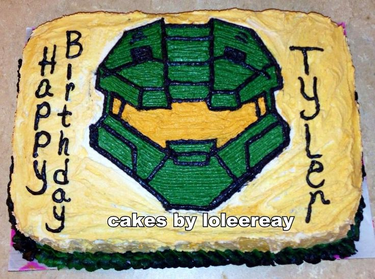 halo cake ,this is not the cake, but similar idea, fondant helmet and the cake is a X-Box
