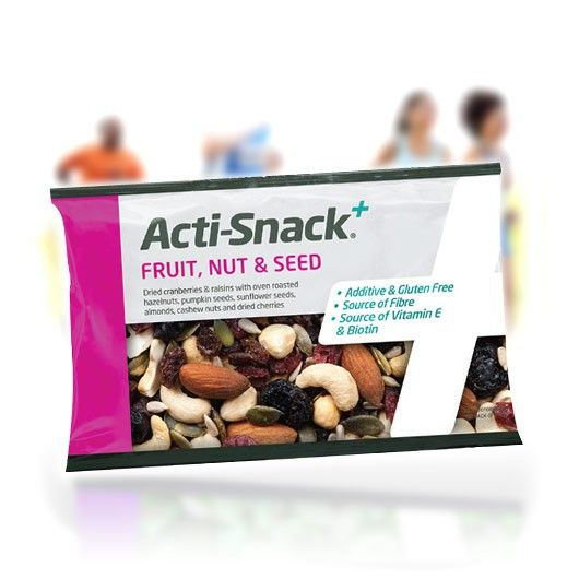 Acti-Snack+ Fruit, Nut & Seed. This easy open slim-line pack of mixed dried fruits, nuts and seeds is jam packed with healthy fats, protein and carbohydrates to fuel your muscles.