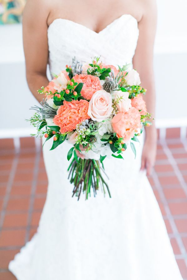 ribault club wedding by alex michele photography coral peach bouquet