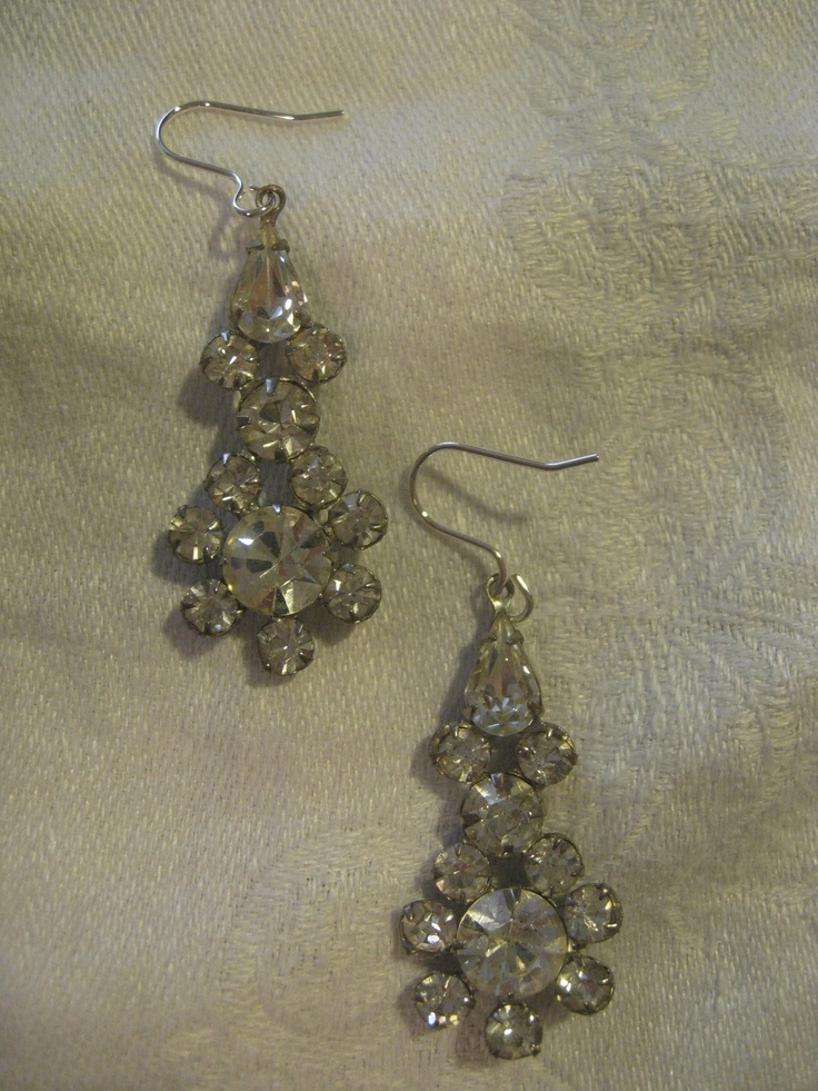 Vintage faux diamond earrings. To buy: Bride to Be Consignment