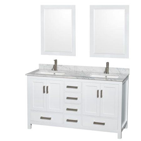 Wyndham Collection Sheffield 60 Inch Double Bathroom Vanity In White, White  Carrera Marble Countertop,