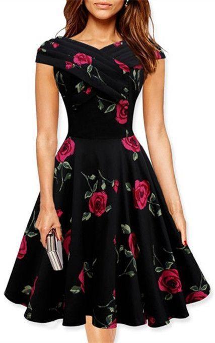 Retro Style V-Neck Rose Print Short Sleeve Dress